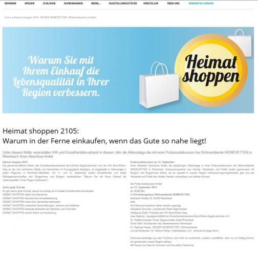 """Podiumsdiskussion im Anschluss an die Aktionstage """"Heimat Shoppen"""" am 13. September beim Einrichtungshaus Heider Heinevetter"""